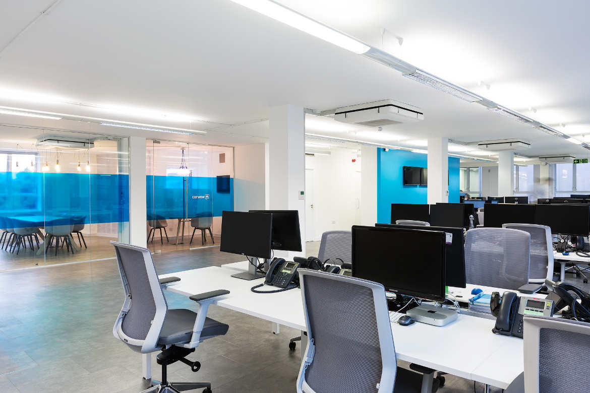 New Penderel House open plan office with work stations on 284-288 High Holborn, London, to let with Anton Page
