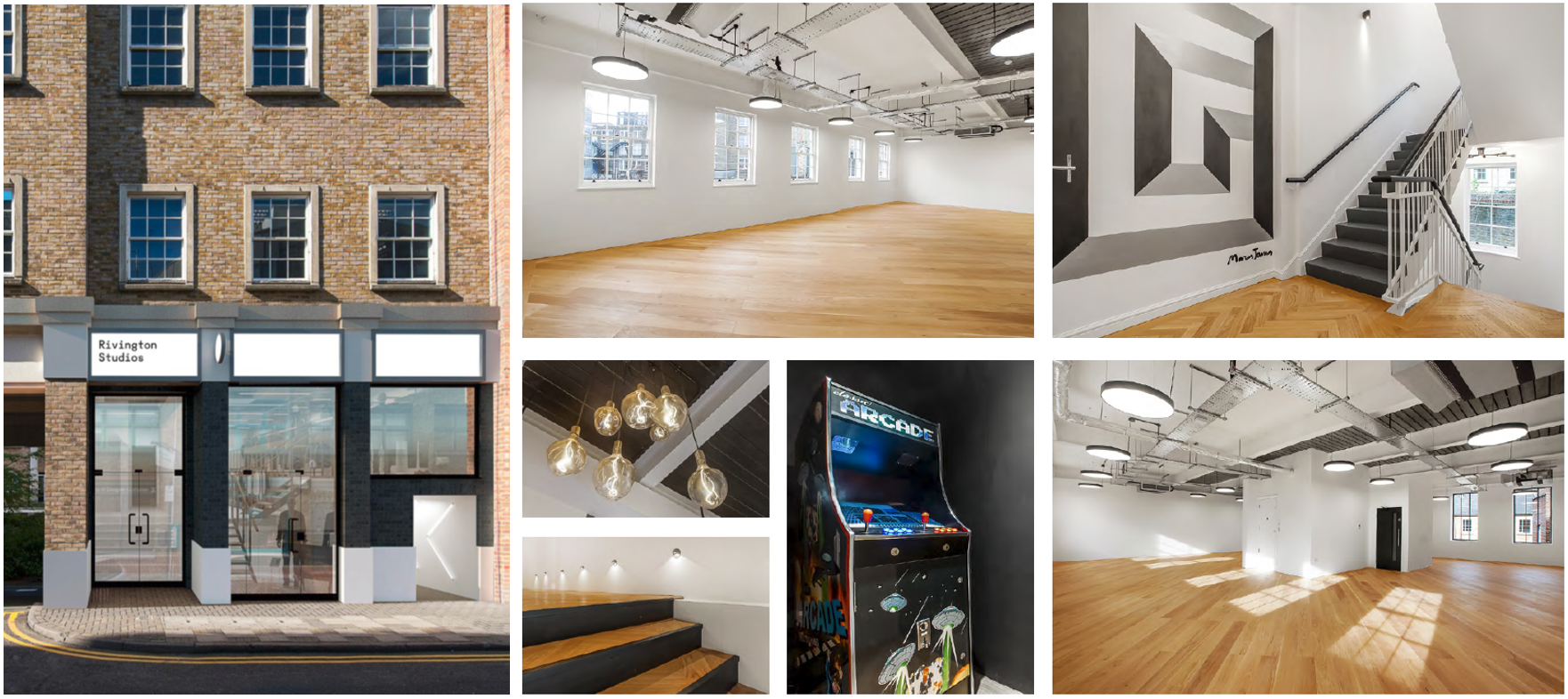 Photo collage of Rivington Studios, a commercial property let by Anton Page
