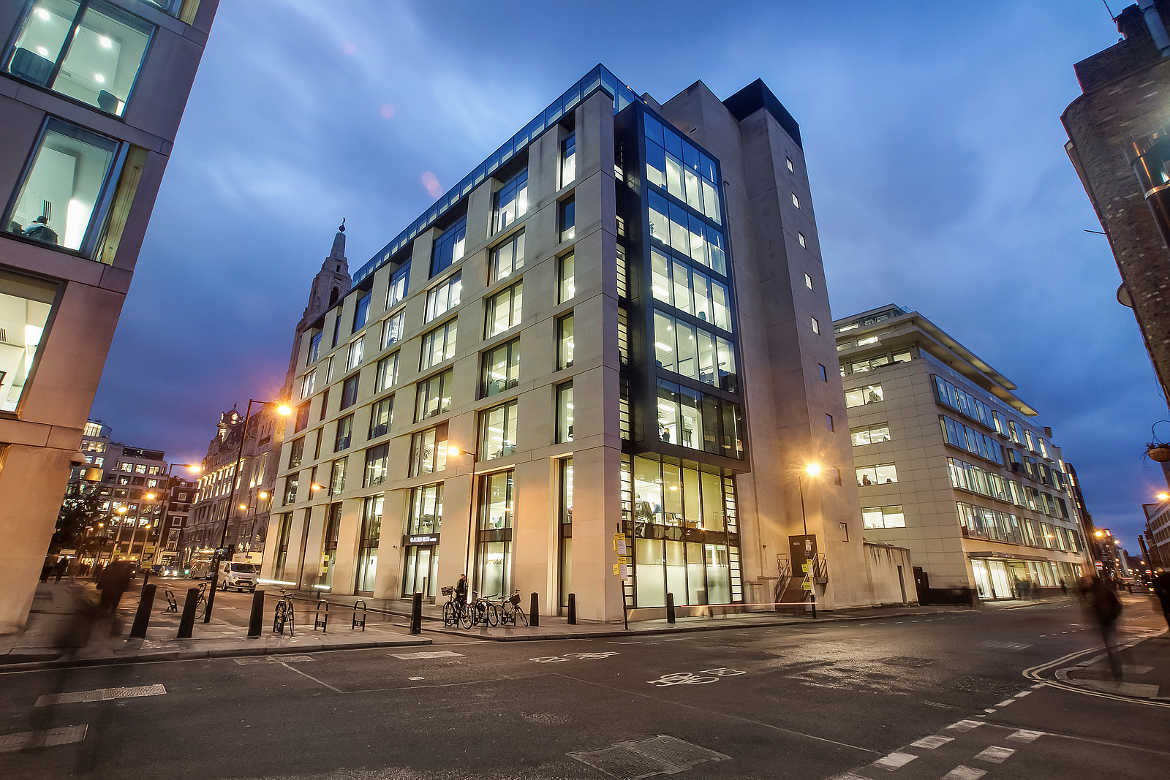 Offices exterior overlooking Finsbury Square, a commercial property let by Anton Page