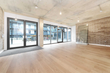 Unit B commercial property entrance on Reliance Wharf, Hertford Road, Dalston let by Anton Page