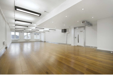 Office with wooden flooring, Wenlock Studios, commercial property on Wharf Road, Shoreditch let by Anton Page