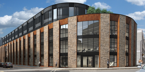 External facade of a modern commercial property on 1 Phipp Street, Shoreditch let by Anton Page