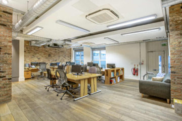 Bright Open plan office with wooden flooring on 6 Motley Avenue, London let by Anton Page