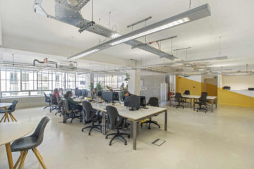 Open plan office overview of a commercial property on 63 Gee Street, Clerkenwell let by Anton Page